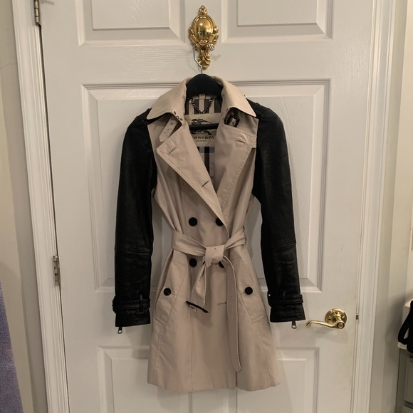 Burberry Leather Sleeved Trench Coat
